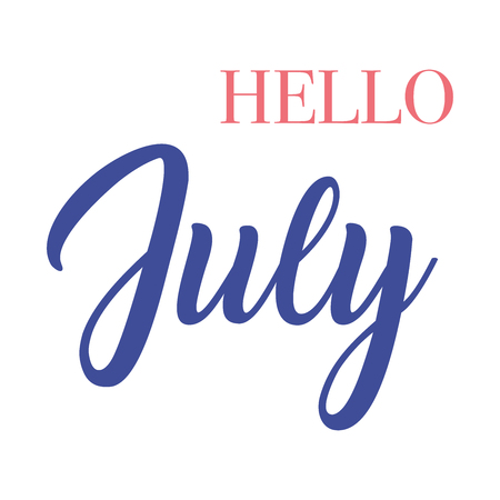 Hello July  typography script lettering