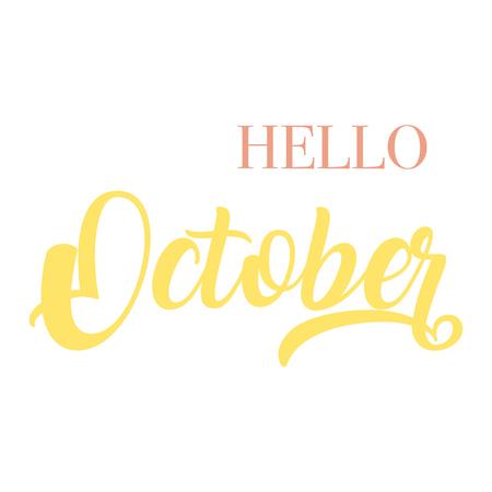 Hello October typography script lettering 矢量图像