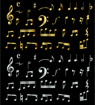 music notes collection in shiny gold and shiny silver colors isolated in black background vector design