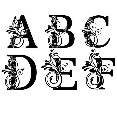Letras mayúsculas A, B, C, D, E y F con diseño de vector floral vintage Ilustración de vector