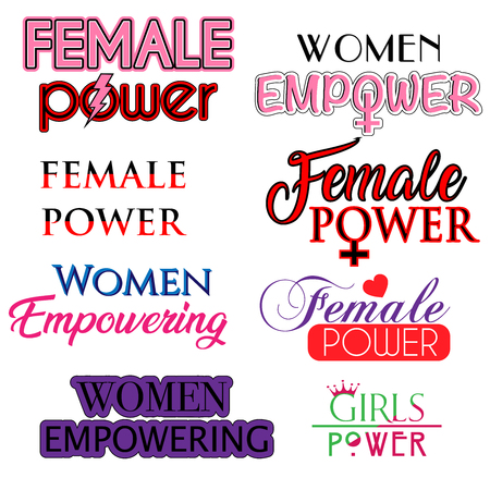 set of female power, women empower,  girls power typography vector life slogan for t-shirts banners or posters 矢量图像