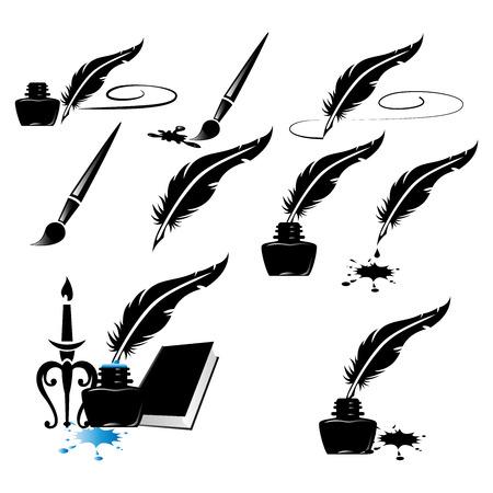 bouteille d'encre stylo à encre écriture plumes collection d'images vectorielles d'encre fractionnée