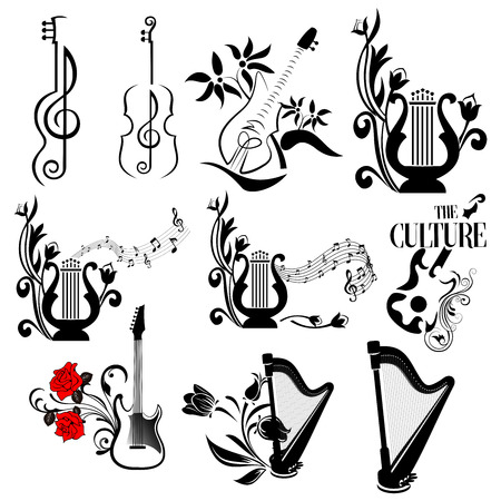 set of abstract classic music instruments guitar, harp,lyre and violin with vintage florals