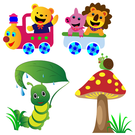 Collection of colorful cartoon animals vector illustrations good for kids room decorations and kids coloring books 矢量图像
