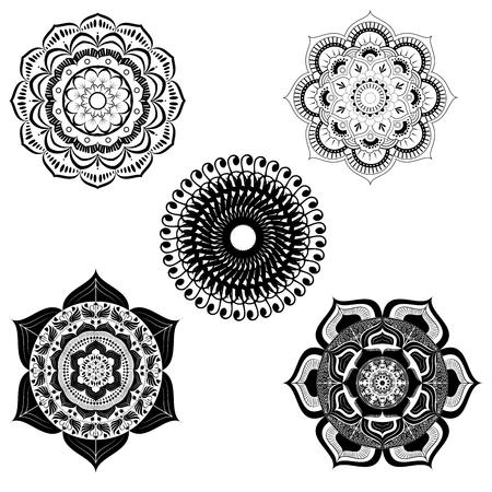 set of mandala design vector