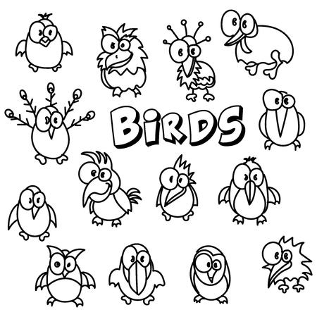 Vector hand drawing  cartoon collection with cute doodle birds set Perfect for kids clothing designs postcard, birthday, baby book, children room decorating or stickers