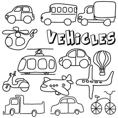 Vector hand drawing  cartoon collection with cute doodle vehicle Perfect for kids clothing designs postcard, birthday, baby book, children room decorating or stickers