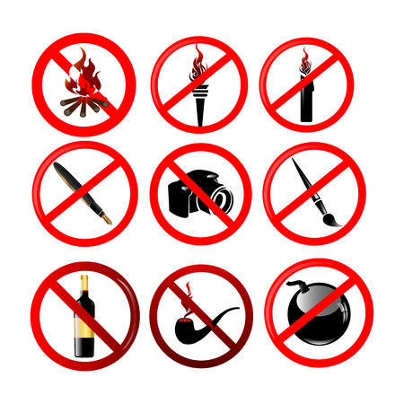 collection of don'ts or stop symbols vector image set