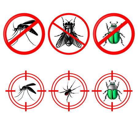 pest control icon set, stop, prohibited,no symbols set for insects including mosquitoes ,flies, bugs in red circle vector image set