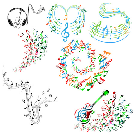 Abstract colorful music notes collection vector 矢量图像
