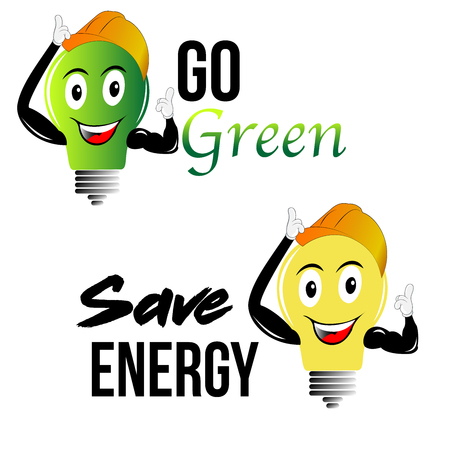 Go green and save energy slogans with cartoon bulb with hat and cute smily face for t-shirt designs posters or eco friendly promotions