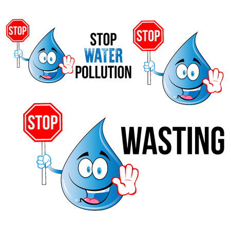 Save Water slogans with cartoon smily face water drop  for t-shirt designs posters or eco friendly promotions