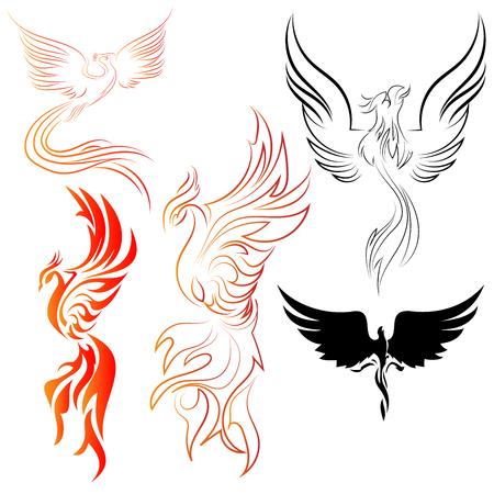 Conjunto de arte de línea de aves Fénix y diseños abstractos con colores de fuego y diseños de vectores de siluetas negras
