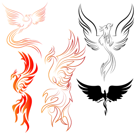 Set of Phoenix birds line art and abstract designs with fire colors and black silhouettes vector designs Stock Illustratie