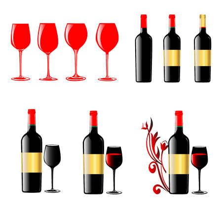 different shapes wine glasses and wine bottles 3D vector image set