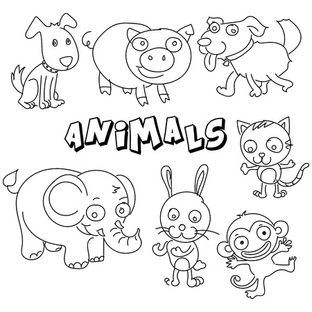 Vector hand drawing  cartoon collection with cute doodle Animals set Perfect for kids clothing designs postcard, birthday, baby book, children room decorating or stickers