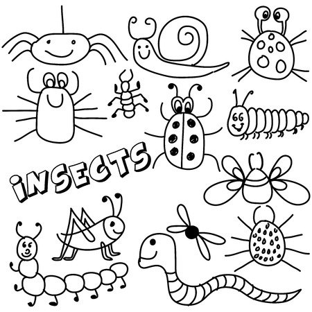 Vector hand drawing  cartoon collection with cute doodle insects Perfect for kids clothing designs postcard, birthday, baby book, children room decorating or stickers