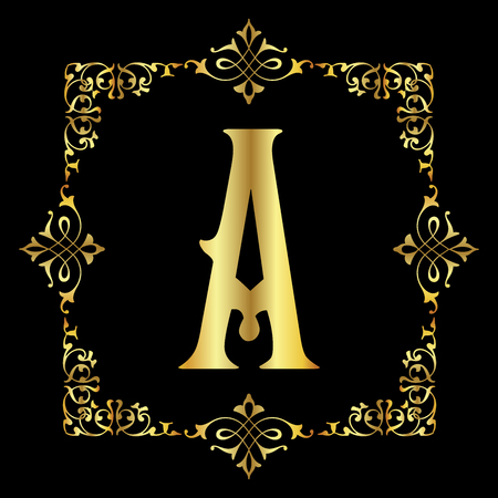 Gold color Letter A with vintage floral frame isolated in black background