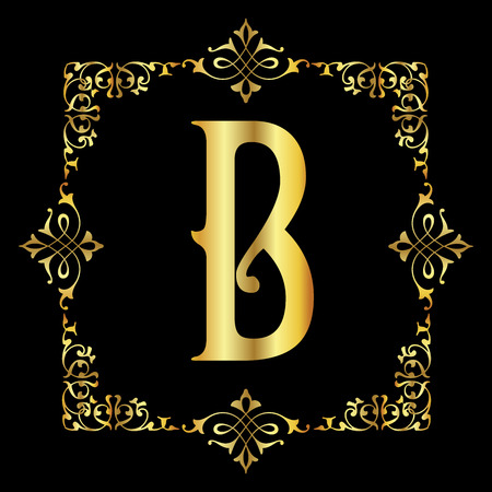 Gold color Letter B with vintage floral frame isolated in black background 矢量图像