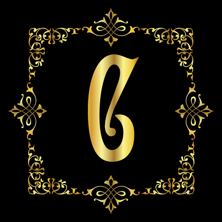 Gold color Letter C with vintage floral frame isolated in black background