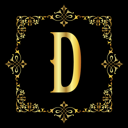 Gold color Letter D with vintage floral frame isolated in black background