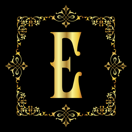 Gold color Letter E with vintage floral frame isolated in black background
