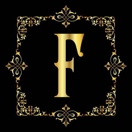 Gold color Letter F with vintage floral frame isolated in black background 矢量图像