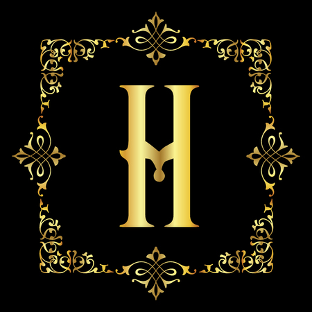 Gold color Letter H with vintage floral frame isolated in black background
