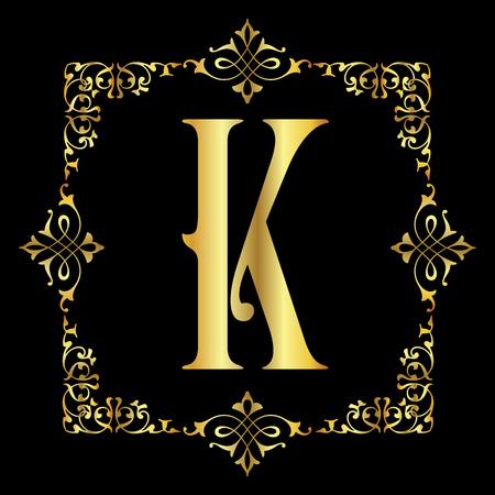 Gold color Letter K with vintage floral frame isolated in black background Ilustração