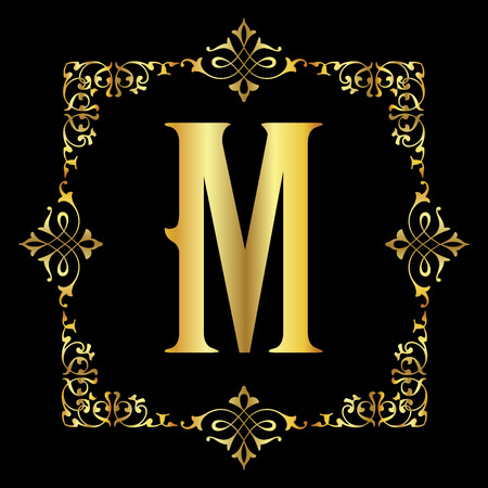 Gold color Letter M with vintage floral frame isolated in black background