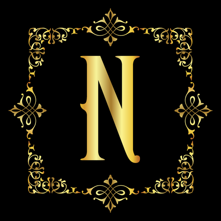 Gold color Letter N with vintage floral frame isolated in black background