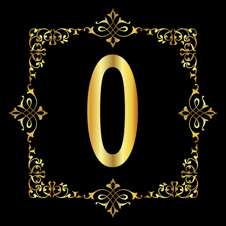 Gold color Letter O with vintage floral frame isolated in black background