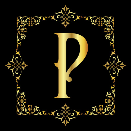 Gold color Letter P with vintage floral frame isolated in black background