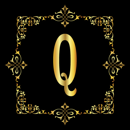 Gold color Letter Q with vintage floral frame isolated in black background