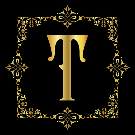 Gold color Letter T with vintage floral frame isolated in black background