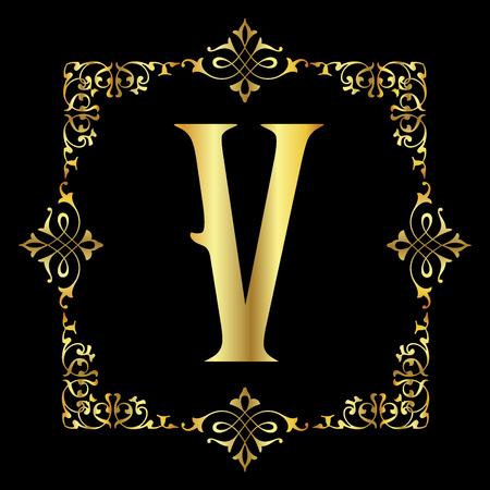 carta de oro de color v con marco floral de la vendimia aislado en el fondo negro