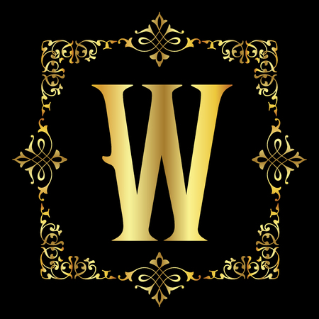 Gold color Letter W with vintage floral frame isolated in black background 矢量图像