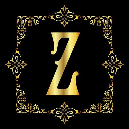 Gold color Letter Z with vintage floral frame isolated in black background 矢量图像