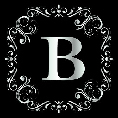 Letter B Design With Vintage Floral Frame in black background with Silver color