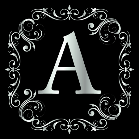 Letter A Design With Vintage Floral Frame in black background with Silver color