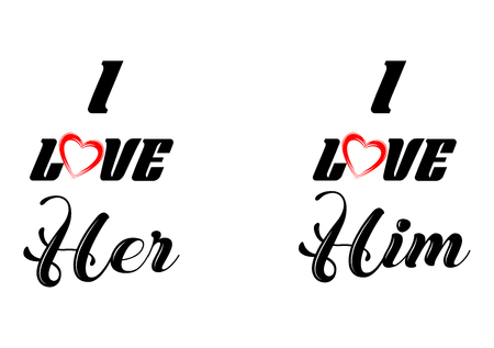 Couple t-shirt design, love him, love her 矢量图像