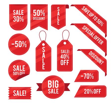 Sprzedaż, rabaty, kolekcja wektorów tagów
