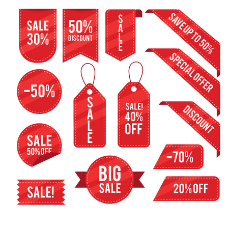 Vendite, sconti, raccolta di disegno vettoriale di tag