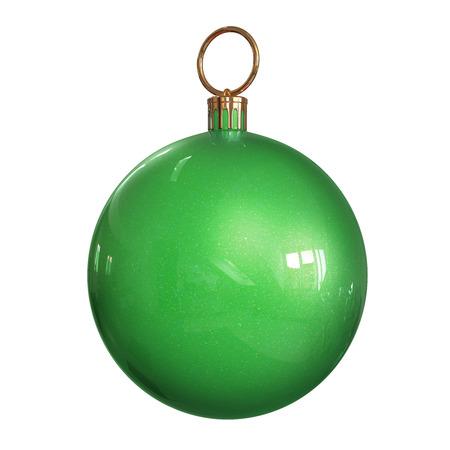 pelota: Bola de Navidad verde aislado sobre fondo blanco con la ruta.