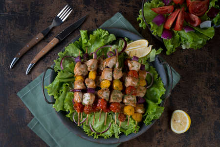 Hot chicken skewer with vegetables on a tin tray