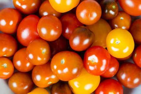 Multicolored cherry tomatoes lie together, top view, close- up 版權商用圖片