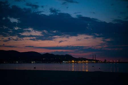 Evening beach in the Mediterranean sea, Palma de Mallorca