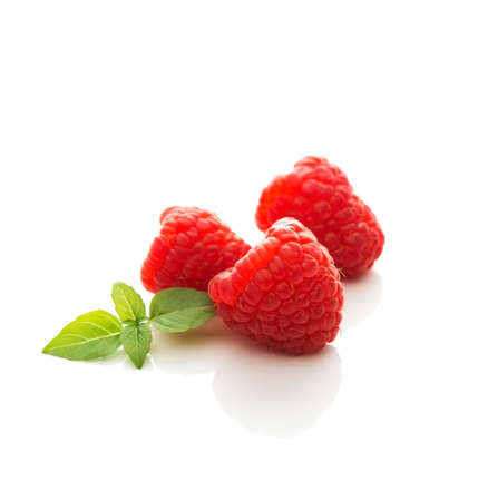 Fresh garden raspberries, summer berries on a white isolated background