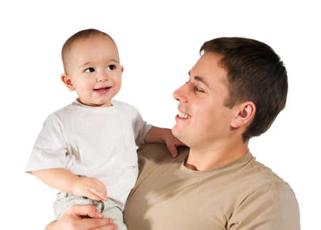 father with baby on a white background Stock Photo - 8679273
