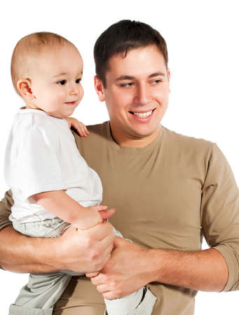 father with baby on a white background Stock Photo - 8679278